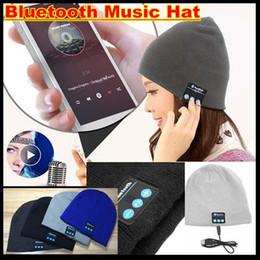 Speakers Colour Canada - To Hot Men Women Soft Winter Beanie Hats Wireless Bluetooth Smart Cap Headphone Headset Speaker Mic Headgear Knitted Cap More Colour