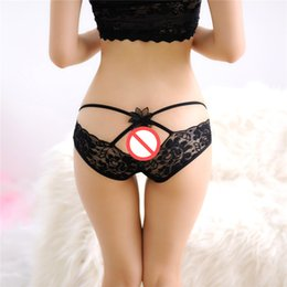 Barato Mulheres S Lingerie Transparente Íntima-New Arrival Women Sexy Lace Briefs Panties Underwear Men's Low Waist Expose Butt Briefs Underwear Transparente Intimates Underwear