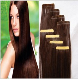 "Sale Human Remy Hair Extensions Canada - A sale 100g=40pcs 2.5g pcs 18"" 20 inch 4# Glue Skin Weft PU Tape in Human Hair Extensions brazilian REMY huge stock 3-5 days delivery"