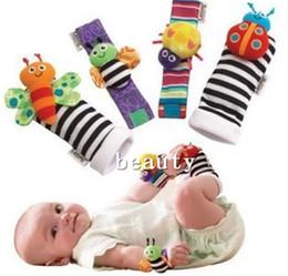 Stuffed Sock Canada - 1000 pcs DHL Cute Animal Baby Infant Kids Foot Sock RattlesToys Developmental Developmental Socks Wrist Bands Stuffed & Plush NAR056