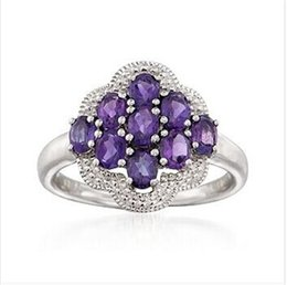 PurPle amethyst white gold ring online shopping - Genuine Natural Diamond Purple Amethyst Engagement Ring Solid K White Gold R0102