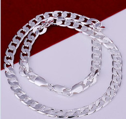 """925 sterling silver mens 2019 - 2017 Hot 925 Sterling Silver plated 7mm 16'' 18'' 20"""" 22'' 24'' Flat Chain"""