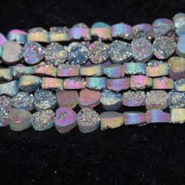 love crystals gemstones Canada - 10mm 15.5inch Titanium Rainbow Druzy Agate Bead Natural Heat Gemstone Crystal Quartz Druzy Agate Necklace Pendant Jewelry Make Connector