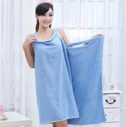 Ingrosso Asciugamani da bagno magici Lady Girls SPA Asciugamano da doccia Body Wrap Accappatoio Accappatoio Beach Dress Wearable Magic Towel 9 colori 10 pezzi