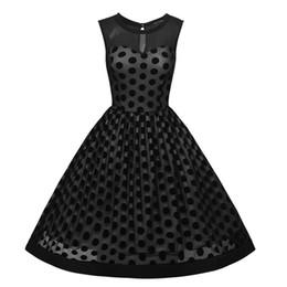 China Elegant Women Polka Dot Retro Style Black Tulle Wedding Party Knee-Length A-Line Vintage Swing Dress Sleeveless S-3XL 2017 suppliers