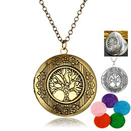 Necklaces Pendants Australia - Life tree oil necklace Aromatherapy Essential Oil Diffuser Necklace Perfume Locket Aroma Pendant Necklace For Women