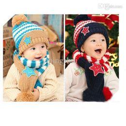 $enCountryForm.capitalKeyWord Canada - Wholesale-Girls Boy Kids Baby Smile Stars Striped Hat+ Scarf Set Christmas Beanie Cap 1-4Years