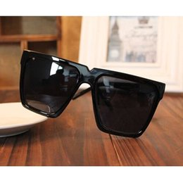 fda3a0a1a51 Wholesale-Black Super Cool Big Square Frame Flat Top 2016 New UV400 Fashion  Sunglasses Women Men Sun Glasses