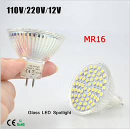 Bulb Warmer Heat Lamps Canada - BEST Selling 10Pcs lot Full Watt 6W MR16 AC 110V 220V 12V LED lamp Heat-resistant Glass Body SMD 3528 60 LEDs Spotlight bulb Ceiling light
