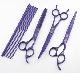 Pet Hair Salon Canada - 7' Hairdressing Scissors 62HRC JP 440C Stainless Steel Pet Hair Cutting Thinning Shears 4Pcs Set With Bag 5 Colors High Quality