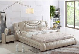 $enCountryForm.capitalKeyWord NZ - FREE SHIPPING GENUINE LEATHER BED ELEGANT STYLE LIGHT YELLOW DOUBLE PESON MODERN FASION GOOD QUALITY SIZE 180*200cm (A20D)