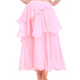 flamenco costumes Canada - Chiffon 3 Layers Flamenco Skirt Spiral Long Skirt Belly Dance Costume 9 Colors