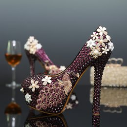 Feito À Mão Roxo Rhoenix Rhinestone Modelagem Sapatos de Evento das Mulheres New Arrived Flor De Cristal Sapatos De Casamento Sapatos De Cristal De Noiva em Promoção