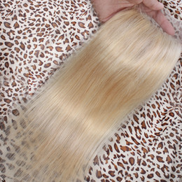bleached hair knots swiss closures 2019 - Platinum #613 Blonde Closure Silk Straight Raw Virgin Indian Human Hair Free Middle Three Part Swiss Lace Top Closures P