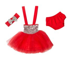 Infant Hair Styles UK - new baby summer clothes girls hair bows headbands + sequin tutu dresses + cotton shorts underwear kids fashion sets infant boutique outfits