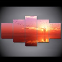 Art Canvas Prints Australia - 5 Panel Flaming Sunset Ocean Landscape Canvas Modular Poster Home Decor Pictures Framed Wall Art Painting HD Printed Living Room