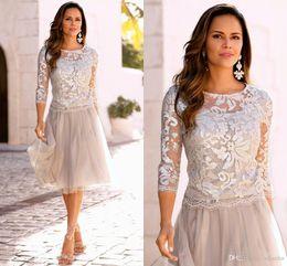 Опт 2019 новые короткие платья для матери невесты кружева тюль длиной до колен 3/4 с длинными рукавами платья для матери невесты короткие платья выпускного вечера плюс размер