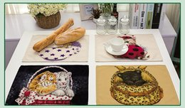 Discount modern kitchen white - Animal White Tiger Panda Cat Heat-insulated Tableware Cotton Linen Placemat Kitchen Dinning Bowl Dish Pad Table Mat