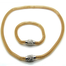 Discount golden mesh - High Quality New Rhinestone Magnetic Mesh Chain Bracelet Necklace Stainless Steel Jewelry Set Best Gift For Mother