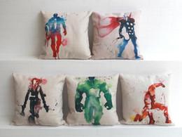 Ingrosso Acquerello Avengers Justice League supereroe Americano Capitano The Thor iron man Hulk cotone lino tiro cuscino fodera per cuscino