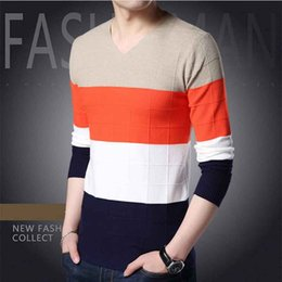 $enCountryForm.capitalKeyWord Canada - 2018 New Autumn Thin Men's V-neck Sweater Korean Stripe Slim Sweater Casual T-shirt Youth Line Clothing