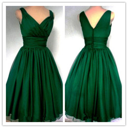Barato Vestido De Cocktail Verde Tamanho 12-New Arrival Emerald Green 1950's Cocktail Dress Vintage Tea Length Plus Size Chiffon Overlay Elegant Prom Party Dress
