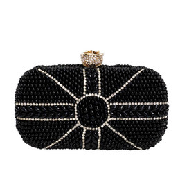 ivory pearl bridal bag Canada - new arrival women black white pearl beading evening clutch bags diamond bridal wedding party hand bags chain small purse 954t