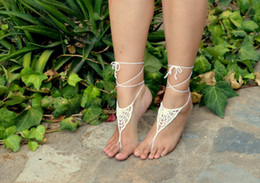 Wholesale Hand Crochet Barefoot Sandals Spiderweb Inspired WHITE Crochet Sandals Sexy Foot Anklet Toe Ring Yoga Foot Thongs Nude Shoes Lace