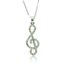 $enCountryForm.capitalKeyWord Canada - Fashion Pendant Necklace White Rhinestone Music Note Charms Silver Plated Necklace For Women Romantic Valentines Gifts Jewelry