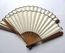 Artisanat De Bambou Chinois Pas Cher-Vintage Blank White Folding Hand Fans Chinese Rice Paper Crafts Cadeau Calligraphie 7-12