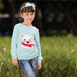 $enCountryForm.capitalKeyWord Canada - Pettigirl Retail Baby Girls Sweater Only Children Blue Tops With Bear For Autumn Kids Clothes SW80722-7W