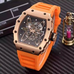orange face watches men Canada - Famous Brand New Luxury Swiss Stainless Rose Gold RM035-01 Face Men Watches Rubber Buckle Fashion Mens Mechanical Automatic Wristwatch Sale