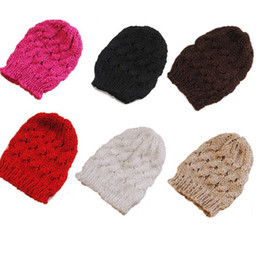 Skull tieS online shopping - Winter Protection Hats Plain Weave Hand Made Crochet Knitting Beanie Coarse Wool Aduts Women Cap Gift bd B
