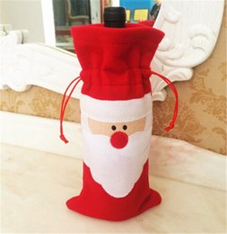 Christmas Tables Canada - HOT best price 32*13cm Santa Claus Red Wine Bottle Cover Bags Christmas Table bottle bag Party Supplies D388