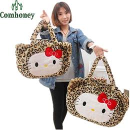 $enCountryForm.capitalKeyWord Canada - Hello Kitty Plush Maternity Bag for Baby Cartoon Cute Leopard Handbag for Women Baby Infant Diaper Nappy Changing Bag Mother Bag