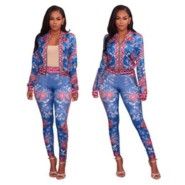 plus size shorts jumpsuit UK - Plus Size Vintage Floral Printed Coveralls Women Jacket Top Full Length Pants 2 Piece Sets Jumpsuits Skinny Rompers Autumn Elegant Clothing