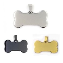 bones dog collar UK - Fashion Stainless Steel Pet Tags Bone Shaped Dog Name Tags Pet ID Tag Blank Rose Gold Black Color ZA5330