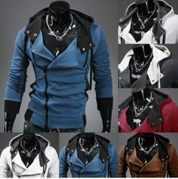 Veste De Sport Décontractée Homme Fermeture Éclair Pas Cher-2016 Hot Mode Assassin Hoodies Sweats Casual Slim Fit Manteau Zipper Sports Veste Plus La Taille M-6XL