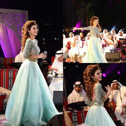 StrapleSS Silk gown online shopping - 2015 Sexy Mint Green Arabic Backless Prom Dresses Plus size Crystals Rhinestones Myriam Fares Formal Gowns Pageant Dresses Celebrity Dresses