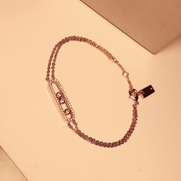 Copper Plated Steel Bangle Canada - Top quality full with CZ diamond Stainless Steel Copper micro three stone rose gold color love bracelets&bangles double chain charm silver