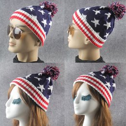 28b4df29599 Five Pointed Star Pattern Beanies Stripe Curling Design Hat With Big Hair  Balls Wool Knitted Cap For Men And Women 8 3lm B