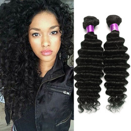weave curly hair extensions 2019 - 4pcs Lot Malaysian Virgin Hair Wefts Deep Wave Malaysian Curly Hair Free Shipping Malaysian Deep Wave Human Hair Extensi