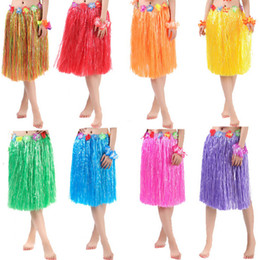 hawaiian party dresses Canada - 60CM Fun Hawaiian Party Decorations Supplies Dress Children Adult Hula Show Grass Beach Dance Activity Skirt Wreath Bra Garland