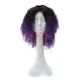 blue african american wigs 2019 - KINKY CURLY Bounce TWIST comfort Micro braid wig african american JANAMINAC CURLY OMBRE PURPLE COLOr 18inch synthetic wi