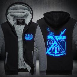688610f9f New arrived Sword Art Online Hoodie Anime Luminous Coat fashion Jacket  Winter Men Thick Zipper Sweatshirt USA EU size