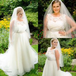 $enCountryForm.capitalKeyWord Canada - New Plus Size Wedding Dresses Jewel Sleeveless A-Line Lace Top Beaded Sash Chapel Train Tulle Custom Made Cheap Wedding Gowns