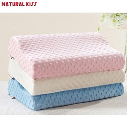 foam cervical pillow Canada - Wholesale- New Neck Pillow Fiber Slow Rebound Memory Foam Massage pillowcase Pillow Cervical Health Care Soft Neck Foam Pillow