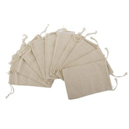 China Wholesale- 10PCS Linen Jute Drawstring Gift Bags Sacks Party Favors 8 * 10cm cheap linen jute bag suppliers