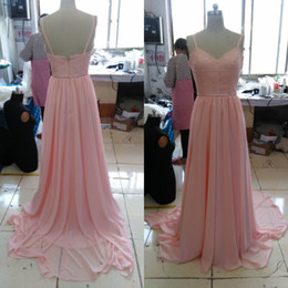 $enCountryForm.capitalKeyWord NZ - Real Picture Blush Pink Bridesmaid Dresses Spaghetti Straps Lace Chiffon Country Bridesmaid Dress Long Formal Wedding Guest Formal Gowns