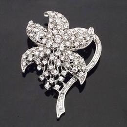 $enCountryForm.capitalKeyWord Canada - Rhodium Plated Vintage Fashionable Wedding Brooch Czech Stone Crystals Rhinestone Flower Women Bouquet Broach Pin Lady Corsage